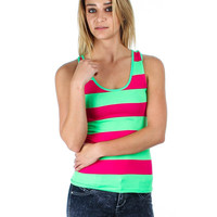 LIME AND MAGENTA STRIPED RACER BACK TANK TOP