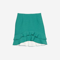 Skirt With Two Frills At The Hem