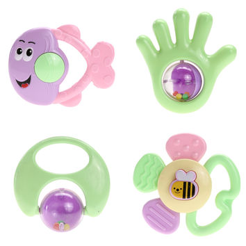 4pcs Baby Toys Stroller Infants Music Hbells Rattle Mobile Developmental Educational Toy 0-12 Month Rom Color