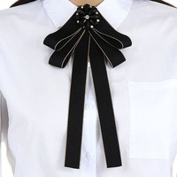 ZHINI New Fashion Vintage Elegant Navy Oval Zircon Badge Dress Shirt Brooches Pin Bow Tie Dress Collar Women Jewelry Accessories