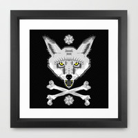 Silver Fox Geometric Framed Art Print by chobopop