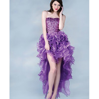 Light Purple Sequin & Tulle High-Low Gown 2015 Prom Dresses