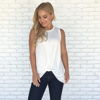 Knot Ready Tank Top in Ivory