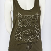 Owl Chiffon Graphic Tank - Graphic Tees - Tops