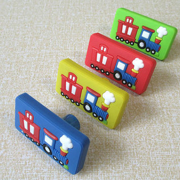 Kids Dresser Knobs Pulls / Childrens Drawer Knobs Handles / Baby Boys Girls Train Car Knobs / Colorful Furniture Knob Pull Handle Hardware