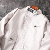NIKE 2019 new casual work clothes retro trend men's windproof jacket beige