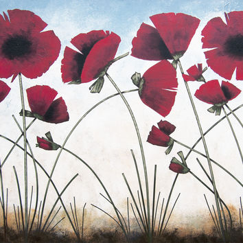 """Red Poppy Painting - """" Poppies in the Summer Sun"""" - 36"""" x 48"""""""