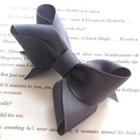 Girls Infant Charcoal Grey Hair Bow - Individual or Pig Tail Set
