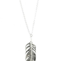 Online Exclusive! Metal Feather Necklace