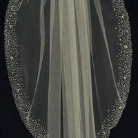 Stunning Wedding Veil with Heavily Beaded Border C424