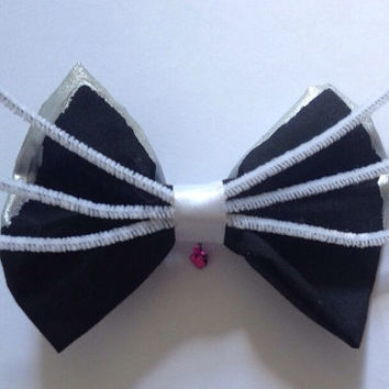 Cute Lolita Kitten Hairbow - Cat Hair Bow Whiskers Kitty Feline Bell Metallic Ears Sweet Goth Gothic Cosplay Furry Furries Dark Fairy Kei
