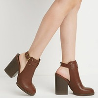 Cutout Faux Leather Booties