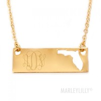 Monogrammed Golden State Name Plate Necklace | Marley Lilly