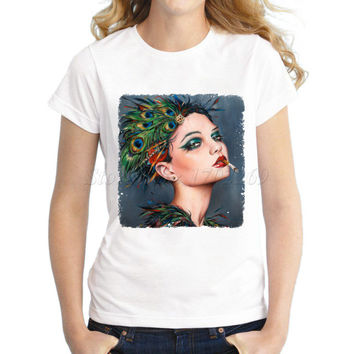 Punk style Women's smoking girl Printed fashion T shirt retro skull head lady casual tops slim novelty hipster funny cool tee