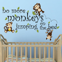 No More Monkeys Jumping On The Bed Decal Nursery Decor Monkey Decal - Jungle Theme Nursery Decor Vinyl Wall Decal