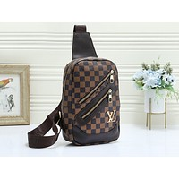 LV fashionable checked print bag for casual lady with diagonal across chest Coffee lattice