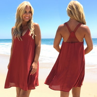 Diamond Back Shift Dress In Rust