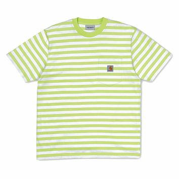 Scotty Stripe Pocket Tee in Lime