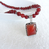 Agate Sterling Silver Jewelry Necklace-Agete Frame Sterling Silver Of 925- Feminine, Handmade, OOAK, Mother Day