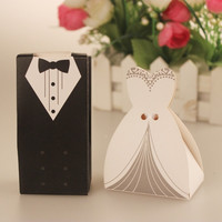 200pcs Bride and Groom Suit wedding candy boxes sweet box Favor Boxes Gift box wedding Gift Favors with Ribbon = 1929907524