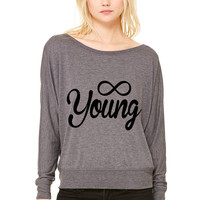 Forever Young young WOMEN'S FLOWY LONG SLEEVE OFF SHOULDER TEE