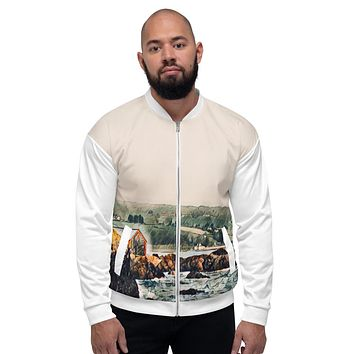 """Game of Thrones Rocky Cliff"" Unisex Bomber Jacket Travel Themed Gift"