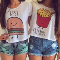 Casual Crop Tops Women  Summer Round Neck Best Friends Print T Shirts Fashion Short Sleeve Printed Shirt Female