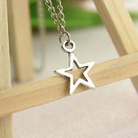 necklace--star necklace,antique silver pendant,alloy chain,love gift