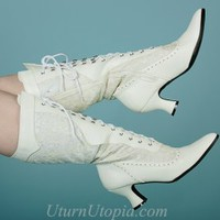 White Lace Up Mid-Calf Boots Inlaid Lacing Victorian Steampunk [253-REBECCA-WHT] - $54.99 : Uturn Utopia, Retro footwear, Rockabilly Shoes, Vintage Inspired Clothing, jewelry, Steampunk