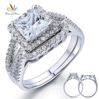 Peacock Star 1.5 Carat Princess Solid 925 Sterling Silver Wedding Promise Engagement Ring Set CFR8141