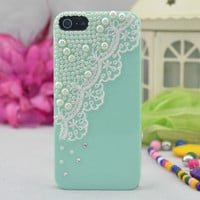 Pearl Lace iPhone 4 4s Case, iPhone Case, iPhone 5 case, handmade Hard Case, iphone cover, iphone 5 cover