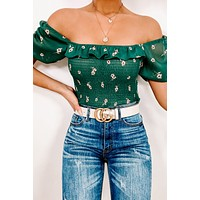 Sweet Symphony Floral Ruffle Crop Top (Green/Taupe)