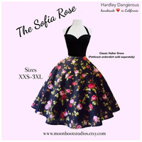 The Sofia Rose, Sexy Rockabilly BLACK Floral Halter Dress, Vintage Modern Bridesmaid