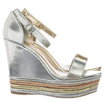 Choice27 Metallic Multi Colored Espadrille Jute Wrap Platform Wedge Dress Sandal