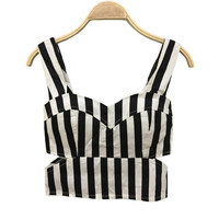 Tops Women Sexy Striped Bustier Crop Top Cut Out Waist Top Cropped Padded Cotton Women's Bandage Crop Top