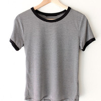 Striped Ringer Tee - Black