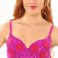 Sequin Bra with Beaded Floral Design - FUCHSIA