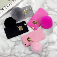 New Fuzzy Candy Color Phone Hard Cover With Fashion Fur Ball Phone Case For Iphone 6 6S 6Plus 6SPlus YC1284