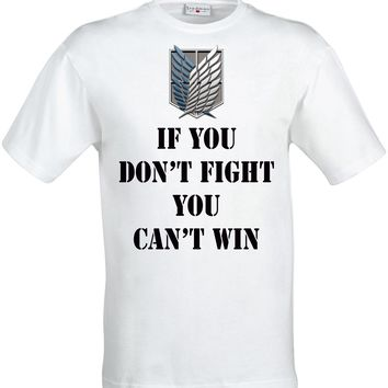 Cool Attack on Titan If you don't fight you can't win  symbol top men's t shirt white AT_90_11