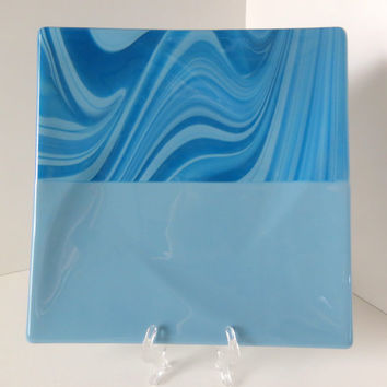 Fused Glass Dish, Mixed Blue Tones, Large Serving Platter, Dinning and Entertaining, Smokeylady54