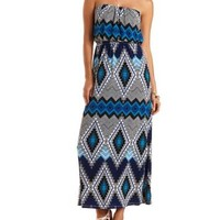 Tribal Print Strapless Maxi Dress by Charlotte Russe