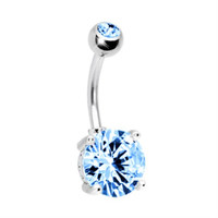 Belly Ring Big Cubic Zirconia Aqua Belly Button Ring 14G with 1 Belly Retainer