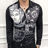 Versace Fashion New Human Head Long Sleeve Top Shirt Men