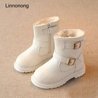 Toddler Girls Fashion Leather Snow Boots