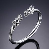 Mprainbow Mens Jewelry Dragon Cable Stainless Steel Cuff Bracelet Adjustable with Silver Gold