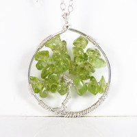 Dainty Sterling Silver Tree of Life Necklace with Peridot, Sterling Silver Gemstone Tree of Life Necklace, Peridot Tree of Life Necklace