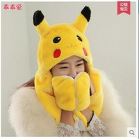 CREYET7 lovely pokemon pikachu plush hat with gloves pikachu plush anime cosplay long earflap warm hat toy gift t6632