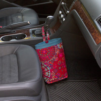 Car Trash Bag - Millefiore Red ~ Teal Band ~ Gearshift Handle ~ Standard Lining
