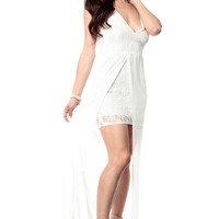 White Lace Detailed Maxi Dress