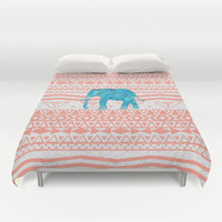 Elephant Blues Duvet Cover by Girly Trend
